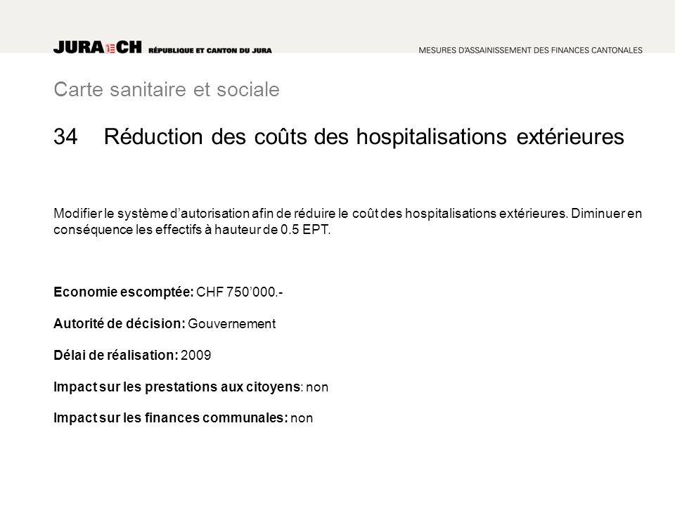 Carte sanitaire et sociale Réduction des coûts des hospitalisations extérieures Modifier le système dautorisation afin de réduire le coût des hospital