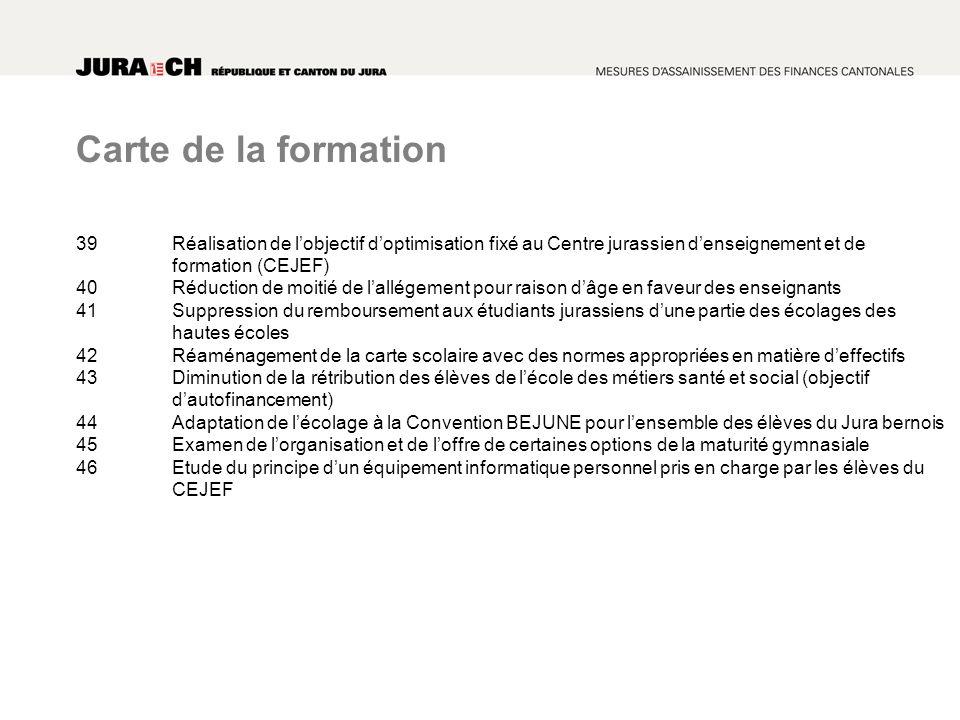 Carte de la formation 39Réalisation de lobjectif doptimisation fixé au Centre jurassien denseignement et de formation (CEJEF) 40Réduction de moitié de