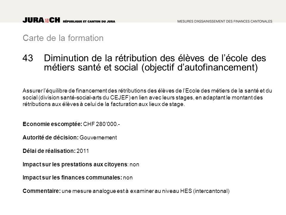 Carte de la formation Diminution de la rétribution des élèves de lécole des métiers santé et social (objectif dautofinancement) Assurer léquilibre de