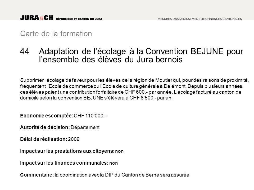 Carte de la formation Adaptation de lécolage à la Convention BEJUNE pour lensemble des élèves du Jura bernois Supprimer lécolage de faveur pour les él