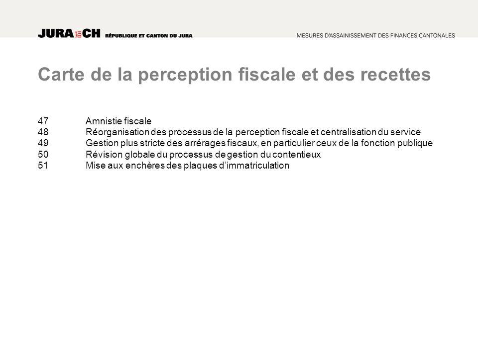 Carte de la perception fiscale et des recettes 47Amnistie fiscale 48Réorganisation des processus de la perception fiscale et centralisation du service