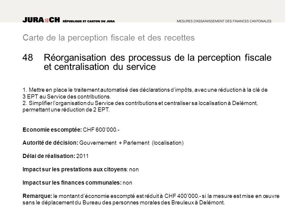 Carte de la perception fiscale et des recettes Réorganisation des processus de la perception fiscale et centralisation du service 1. Mettre en place l