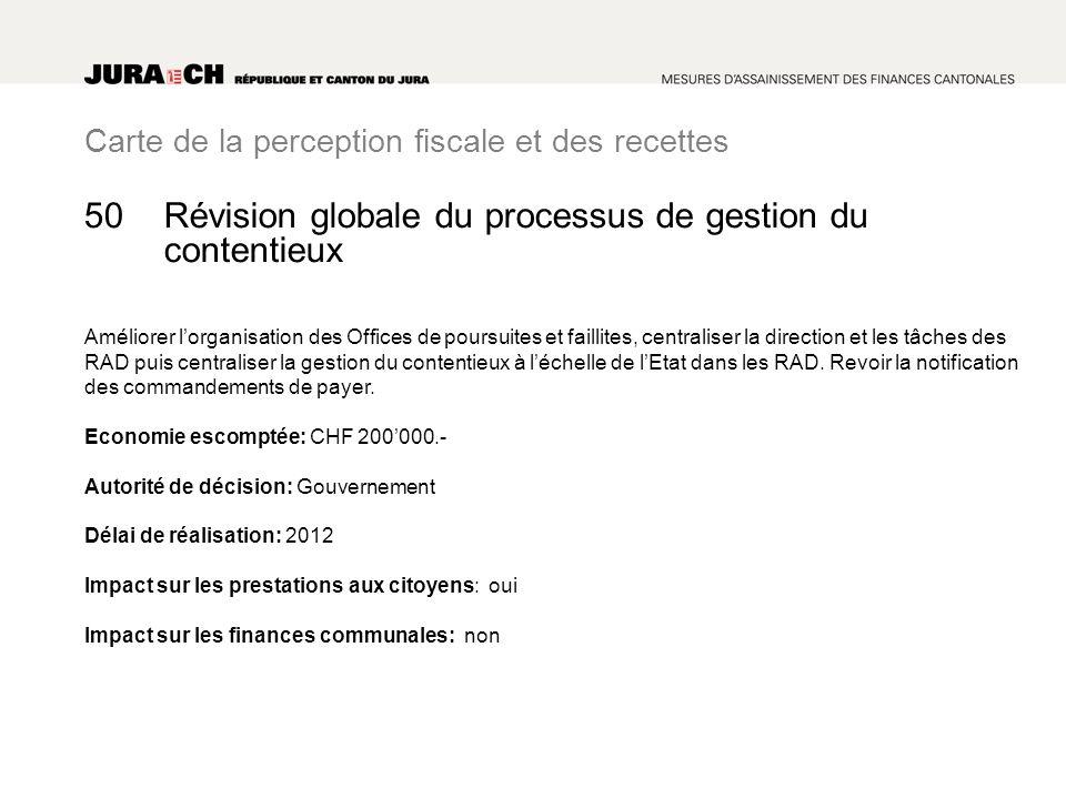 Carte de la perception fiscale et des recettes Révision globale du processus de gestion du contentieux Améliorer lorganisation des Offices de poursuit