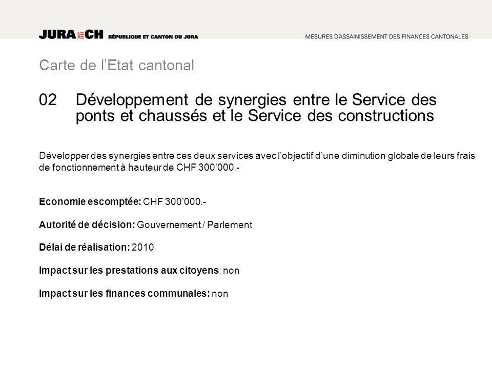 Carte de lEtat cantonal Développement de synergies entre le Service des ponts et chaussés et le Service des constructions Développer des synergies ent