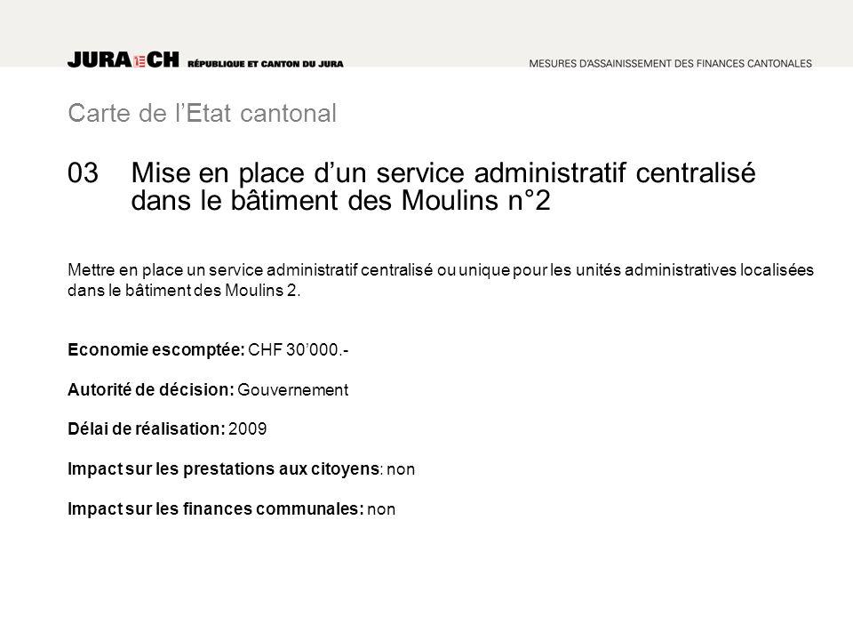 Carte de lEtat cantonal Mise en place dun service administratif centralisé dans le bâtiment des Moulins n°2 Mettre en place un service administratif centralisé ou unique pour les unités administratives localisées dans le bâtiment des Moulins 2.