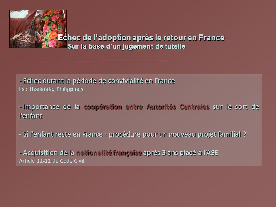 Echec de ladoption après le retour en France Sur la base dun jugement de tutelle Sur la base dun jugement de tutelle - Echec durant la période de conv