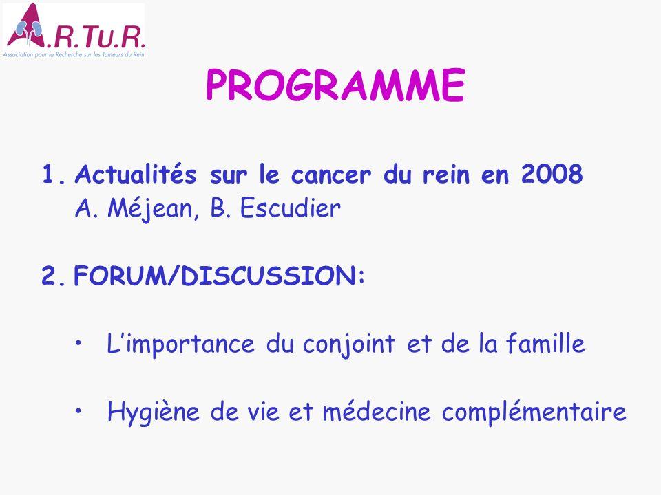 PROGRAMME 1.Actualités sur le cancer du rein en 2008 A. Méjean, B. Escudier 2.FORUM/DISCUSSION: Limportance du conjoint et de la famille Hygiène de vi