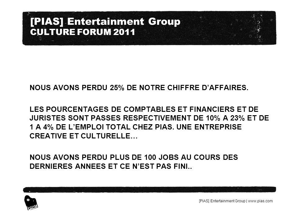 [PIAS] Entertainment Group | www.pias.com [PIAS] Entertainment Group CULTURE FORUM 2011 NOUS AVONS PERDU 25% DE NOTRE CHIFFRE DAFFAIRES. LES POURCENTA