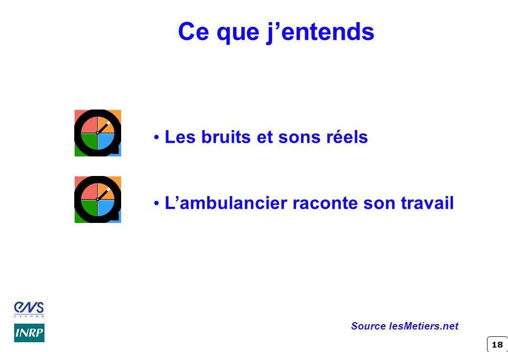 18 Ce que jentends Les bruits et sons réels Lambulancier raconte son travail Source lesMetiers.net