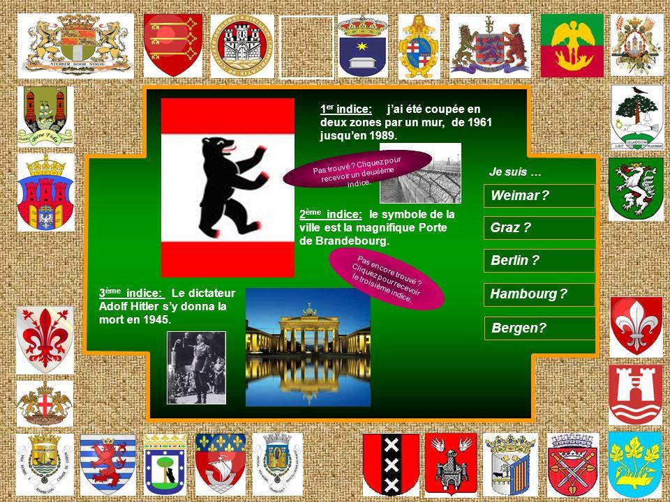 1 er indice: jai été coupée en deux zones par un mur, de 1961 jusquen 1989. 2 ème indice: le symbole de la ville est la magnifique Porte de Brandebour
