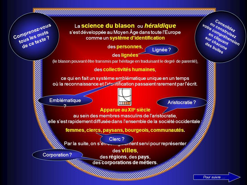 La science du blason ou héraldique sest développée au Moyen Âge dans toute l'Europe comme un système d'identification des personnes, des lignées (le b