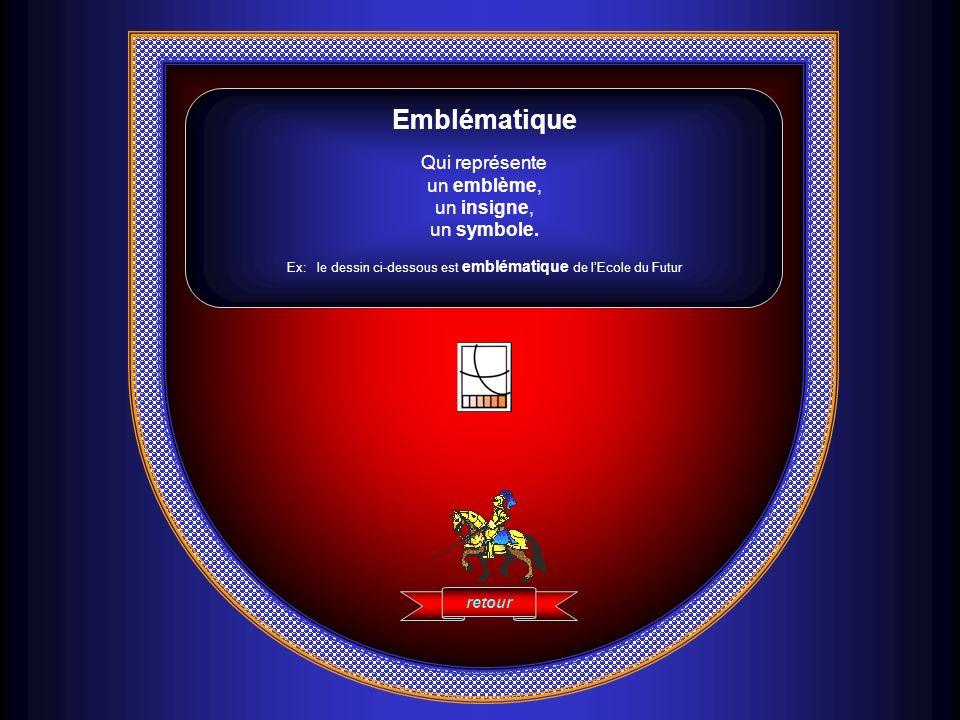 Emblématique Qui représente un emblème, un insigne, un symbole. Ex: le dessin ci-dessous est emblématique de lEcole du Futur retour