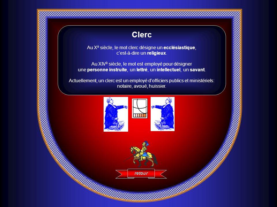 Clerc Au X è siècle, le mot clerc désigne un ecclésiastique, cest-à-dire un religieux. Au XIV è siècle, le mot est employé pour désigner une personne