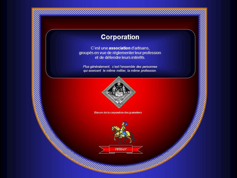 Corporation Cest une association dartisans, groupés en vue de réglementer leur profession et de défendre leurs intérêts. Plus généralement, cest lense
