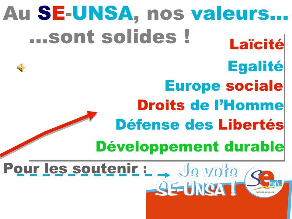 Laïcité Au SE-UNSA, nos valeurs… …sont solides ! Egalité Europe sociale Droits de lHomme Développement durable Défense des Libertés Pour les soutenir