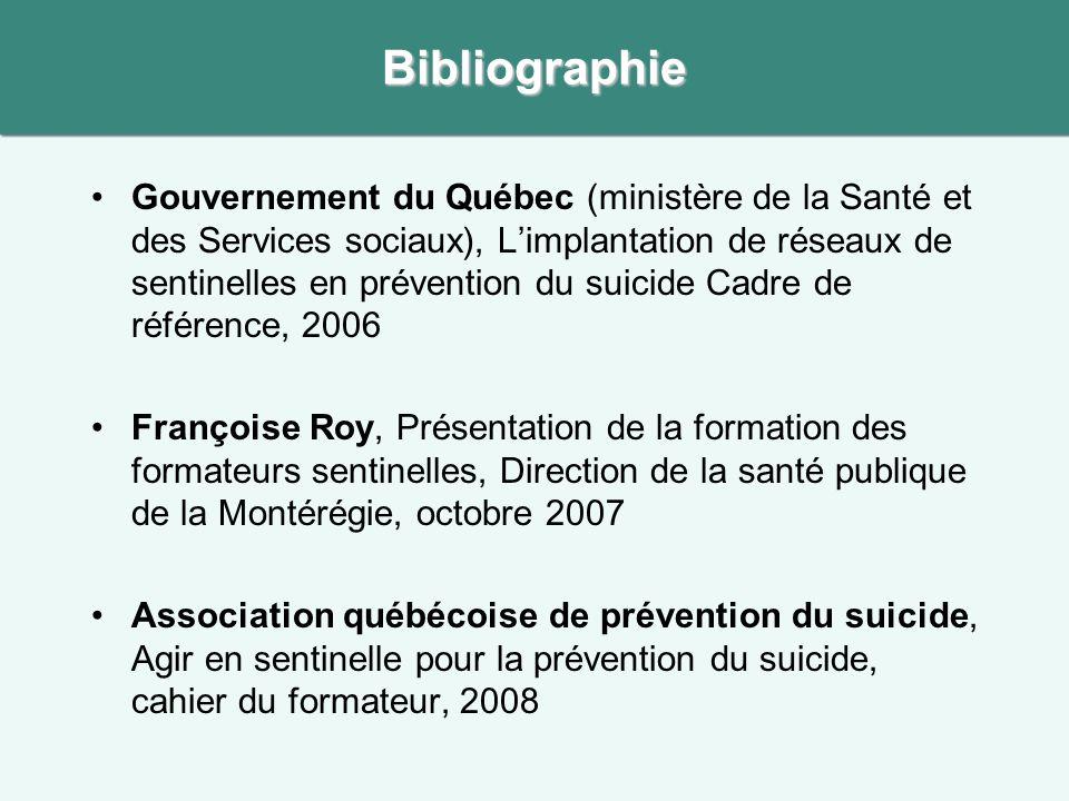 Gouvernement du Québec (ministère de la Santé et des Services sociaux), Limplantation de réseaux de sentinelles en prévention du suicide Cadre de réfé