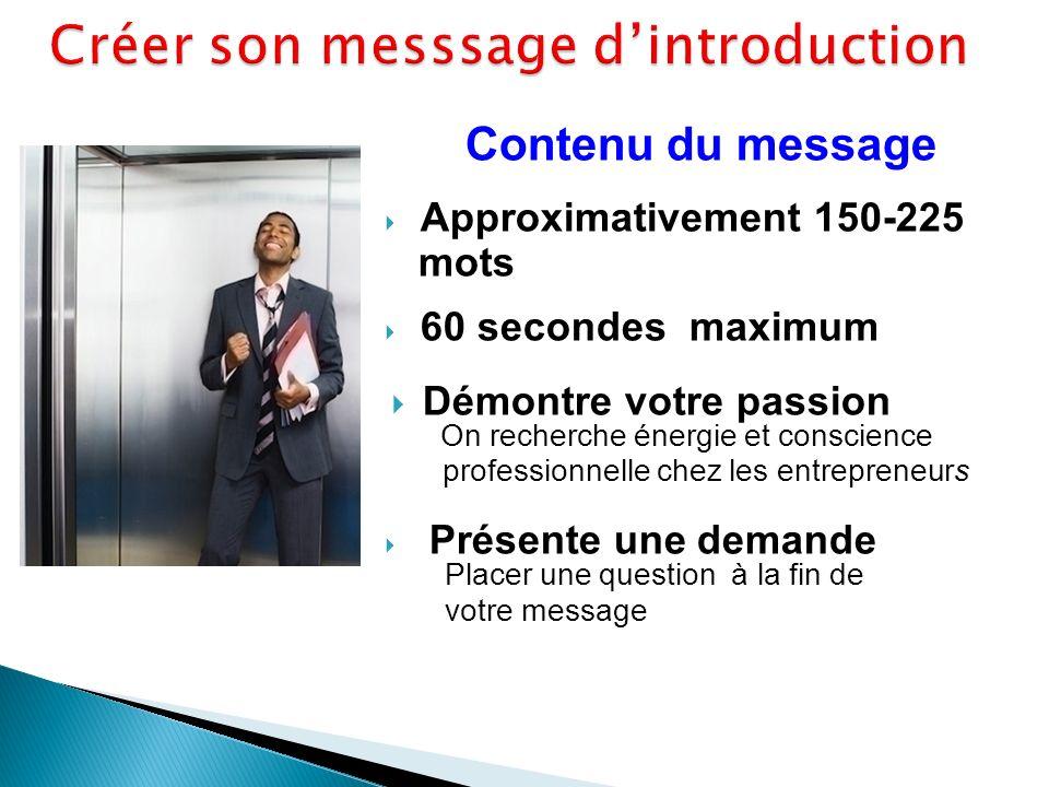 Contenu du message Approximativement 150-225 mots 60 secondes maximum Démontre votre passion On recherche énergie et conscience professionnelle chez les entrepreneurs Présente une demande Placer une question à la fin de votre message