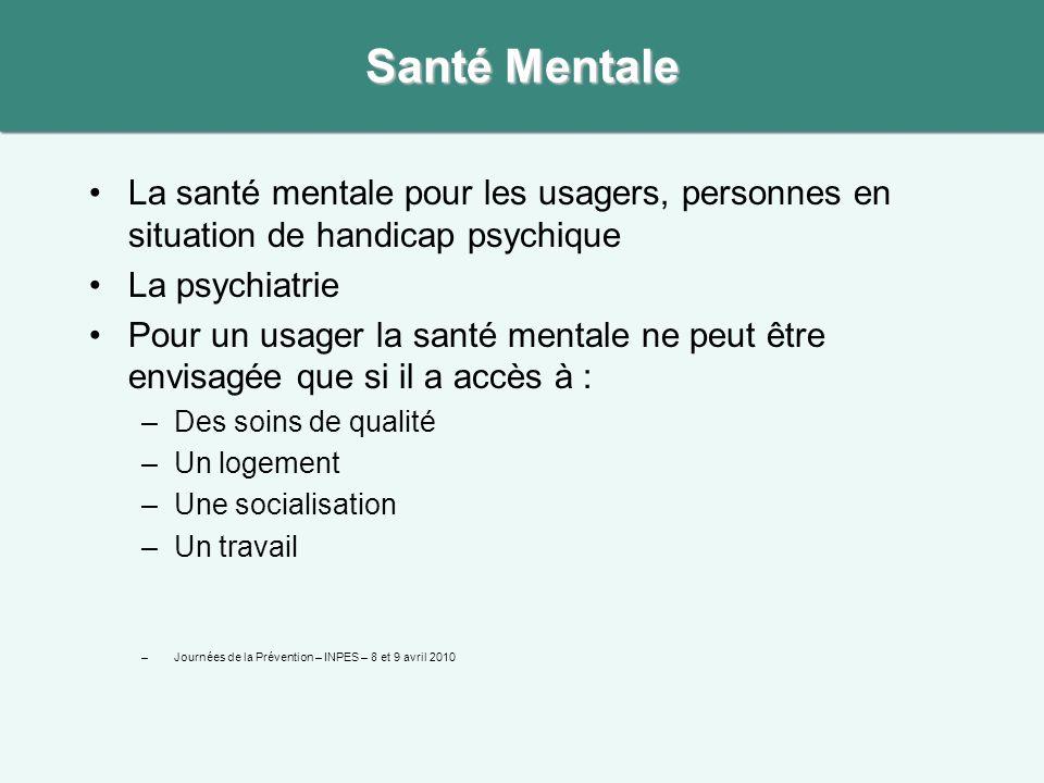 La santé mentale pour les usagers, personnes en situation de handicap psychique La psychiatrie Pour un usager la santé mentale ne peut être envisagée que si il a accès à : –Des soins de qualité –Un logement –Une socialisation –Un travail –Journées de la Prévention – INPES – 8 et 9 avril 2010 Santé Mentale