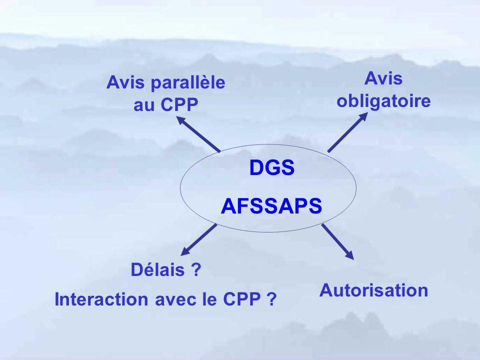 DGS AFSSAPS Autorisation Avis obligatoire Avis parallèle au CPP Délais ? Interaction avec le CPP ?