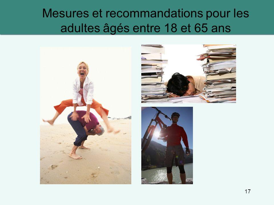 17 Mesures et recommandations pour les adultes âgés entre 18 et 65 ans