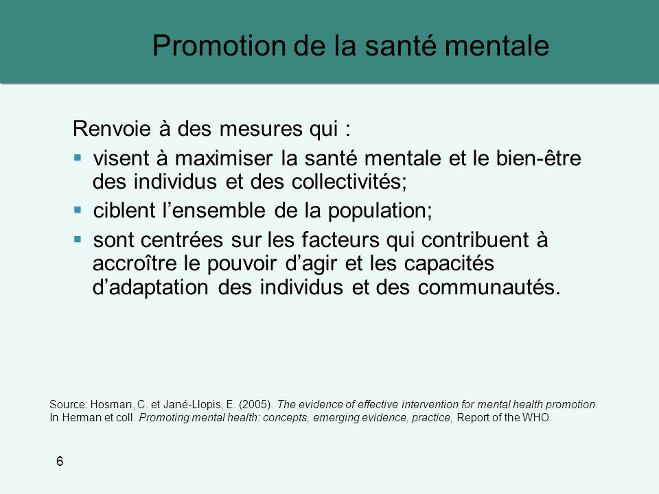 6 Promotion de la santé mentale Renvoie à des mesures qui : visent à maximiser la santé mentale et le bien-être des individus et des collectivités; ci