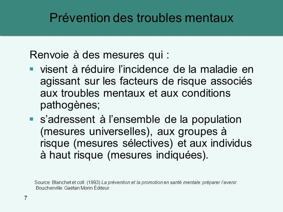7 Prévention des troubles mentaux Renvoie à des mesures qui : visent à réduire lincidence de la maladie en agissant sur les facteurs de risque associé