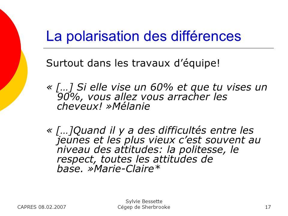 CAPRES 08.02.2007 Sylvie Bessette Cégep de Sherbrooke17 La polarisation des différences Surtout dans les travaux déquipe.