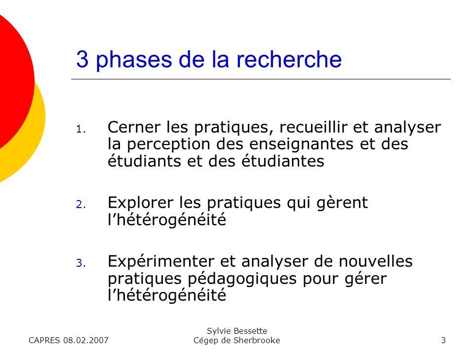 CAPRES 08.02.2007 Sylvie Bessette Cégep de Sherbrooke3 3 phases de la recherche 1.