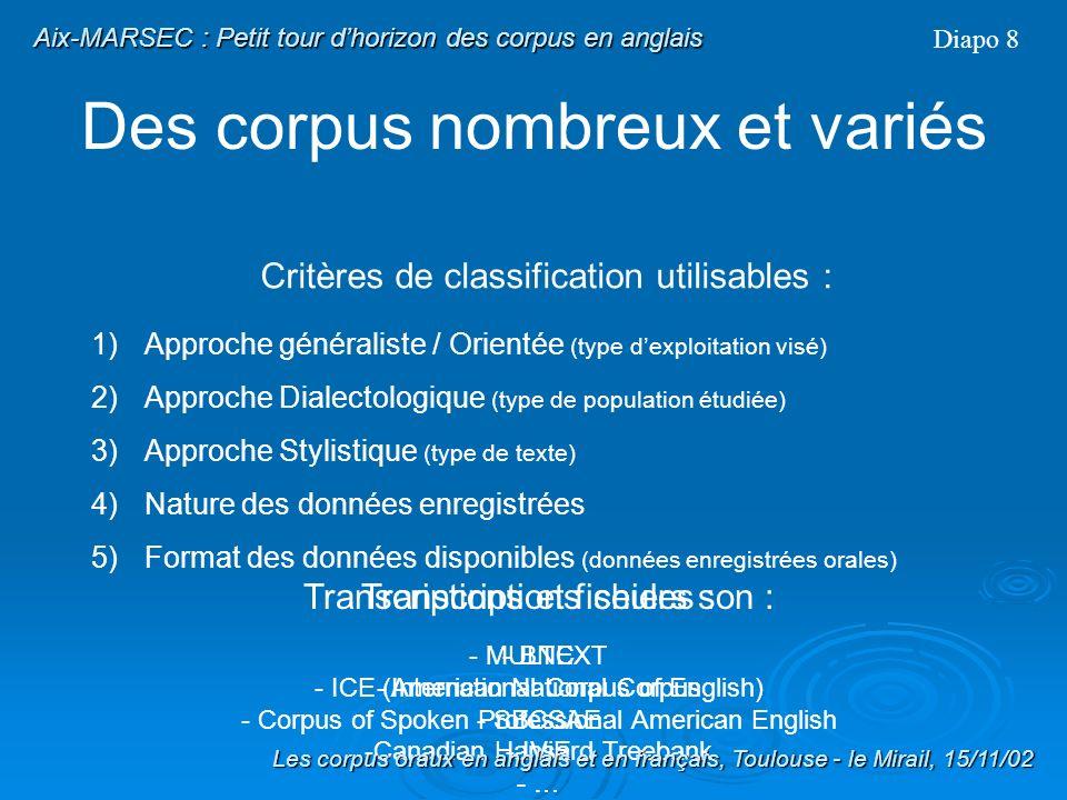 Des corpus nombreux et variés 1) Approche généraliste / Orientée (type dexploitation visé) 2) Approche Dialectologique (type de population étudiée) 3)