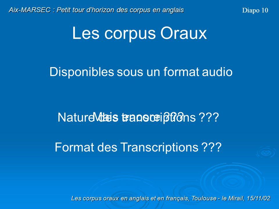 Les corpus Oraux Disponibles sous un format audio Corpus Oraux = Corpus de données orales Diapo 9 Les corpus oraux en anglais et en français, Toulouse - le Mirail, 15/11/02 Aix-MARSEC : Petit tour dhorizon des corpus en anglais