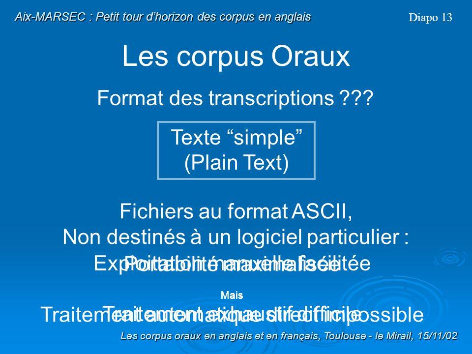 Les corpus Oraux Nature des transcriptions ??? OrthographiqueNON-Orthographique Diapo 12 Les corpus oraux en anglais et en français, Toulouse - le Mir