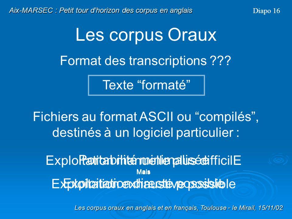Les corpus Oraux Format des transcriptions ??? Exemple de Texte simple : MARSEC Diapo 15 Transcription MARSEC signal a0101 type 0 color 121 comment cr