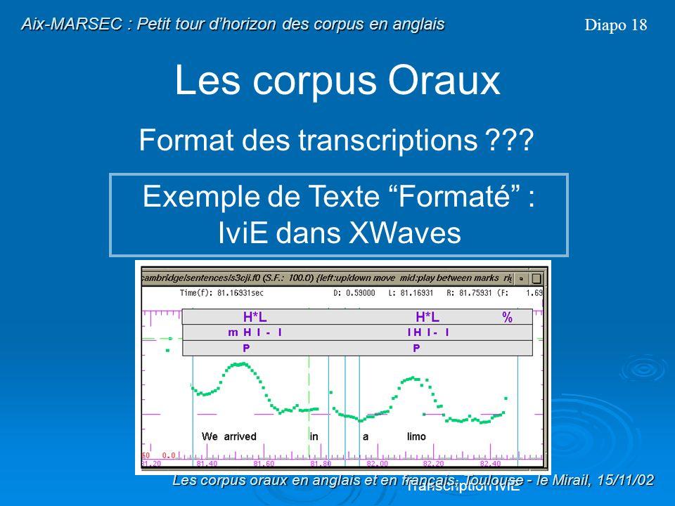 Les corpus Oraux Format des transcriptions ??? Exemple de Texte Formaté : BNC Diapo 17 Transcription BNC (Header) General Practitioners Surgery -- an