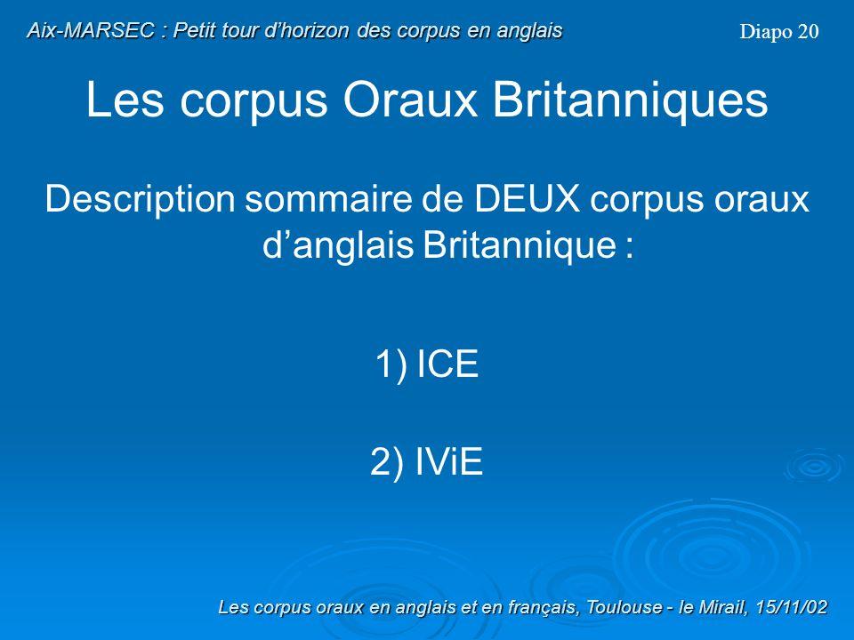 Les corpus Oraux Diapo 19 Les transcriptions sont en général : orthographiques annotées Texte simple / formaté + / - Alignées Quen est-il des principaux corpus oraux danglais britannique ??.