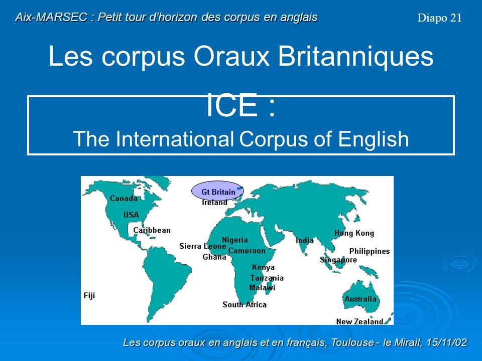Les corpus Oraux Britanniques Diapo 20 Description sommaire de DEUX corpus oraux danglais Britannique : 1) ICE 2) IViE Les corpus oraux en anglais et
