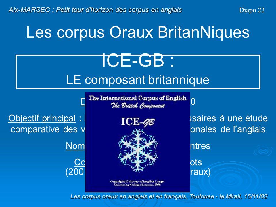 Les corpus Oraux Britanniques Diapo 21 ICE : The International Corpus of English Les corpus oraux en anglais et en français, Toulouse - le Mirail, 15/