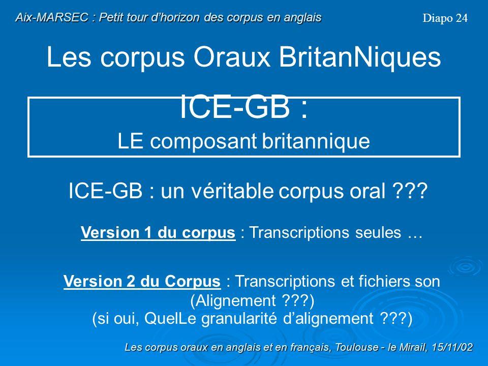 Les corpus Oraux BritanNiques Diapo 23 ICE-GB : LE composant britannique Format des données : annotation syntaxique complète au format ICECUP (étiquet