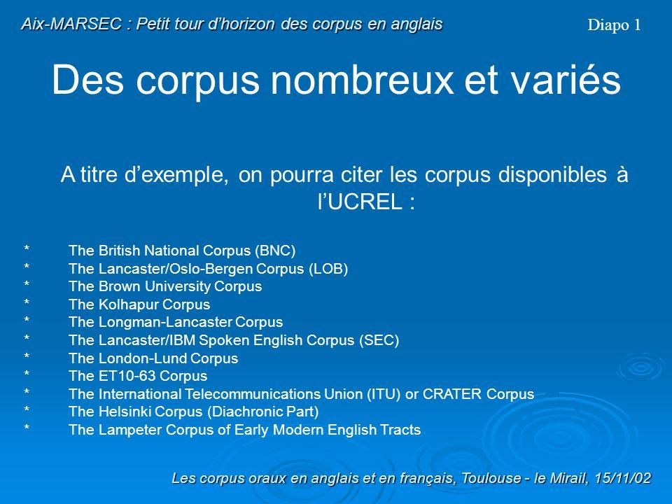 Aix-MARSEC PLAN I) Petit tour dhorizon des Corpus en anglais 1) Des corpus nombreux et variés 2) Les corpus oraux 3) Les corpus oraux britanniques II)