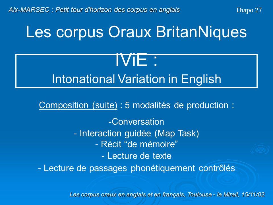 Les corpus Oraux BritanNiques Diapo 26 Début du programme : 1997 Objectif principal : Fournir les données et les outils nécessaires à une étude compar