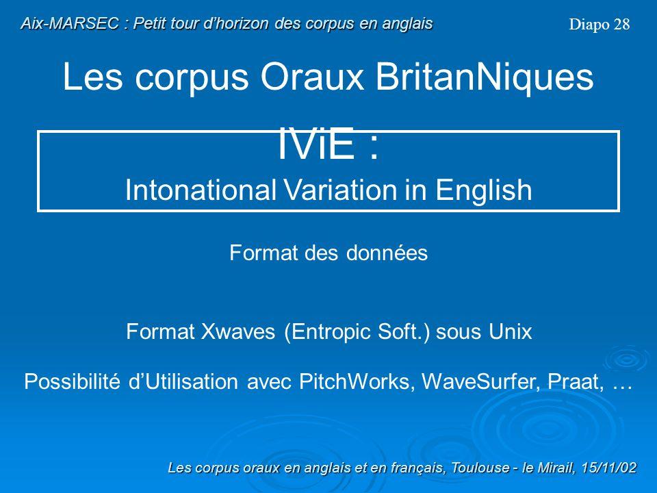 Les corpus Oraux BritanNiques Diapo 27 Composition (suite) : 5 modalités de production : -Conversation - Interaction guidée (Map Task) - Récit de mémo