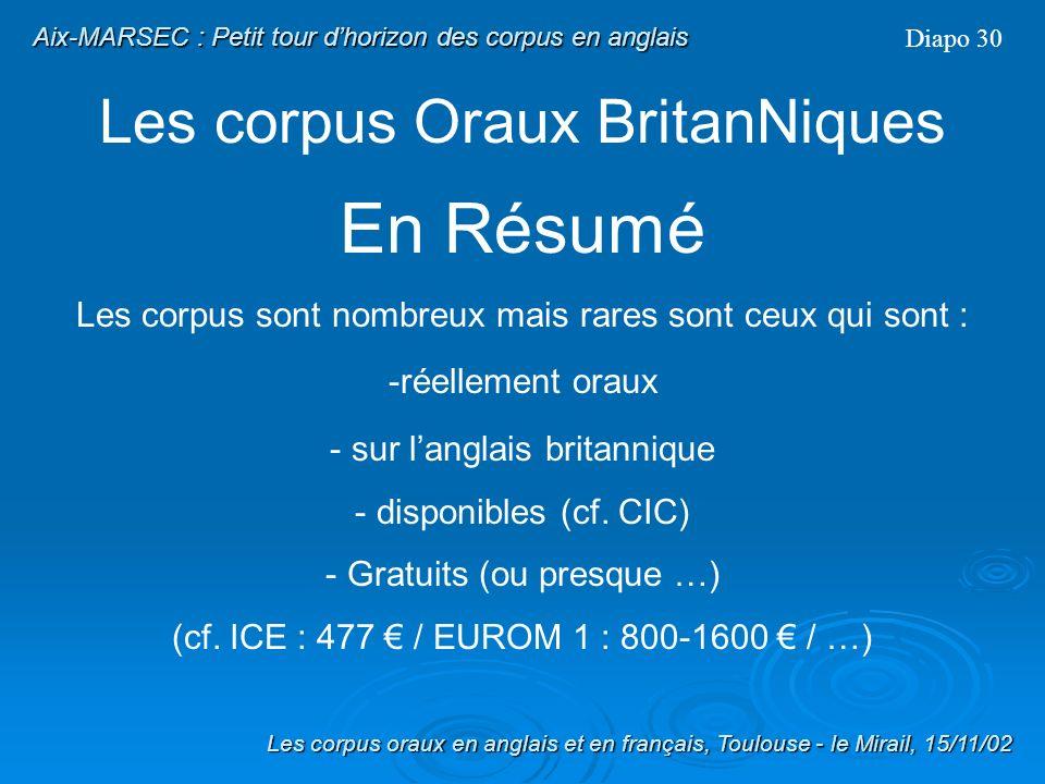 Les corpus Oraux BritanNiques Diapo 29 IViE : Intonational Variation in English Les corpus oraux en anglais et en français, Toulouse - le Mirail, 15/1
