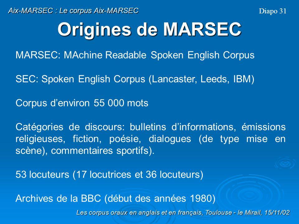 1) Les origines 2) de MARSEC à Aix-MARSEC : traitements 3) perspectives Les corpus oraux en anglais et en français, Toulouse - le Mirail, 15/11/02 Le corpus Aix-MARSEC