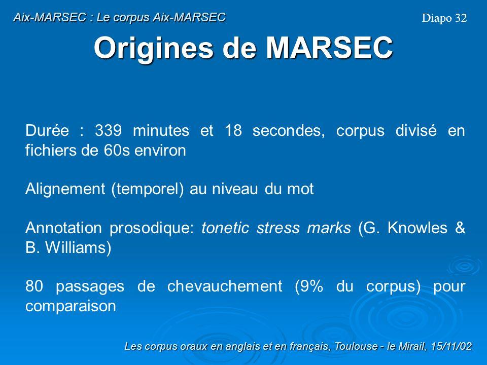 Origines de MARSEC MARSEC: MAchine Readable Spoken English Corpus SEC: Spoken English Corpus (Lancaster, Leeds, IBM) Corpus denviron 55 000 mots Catég