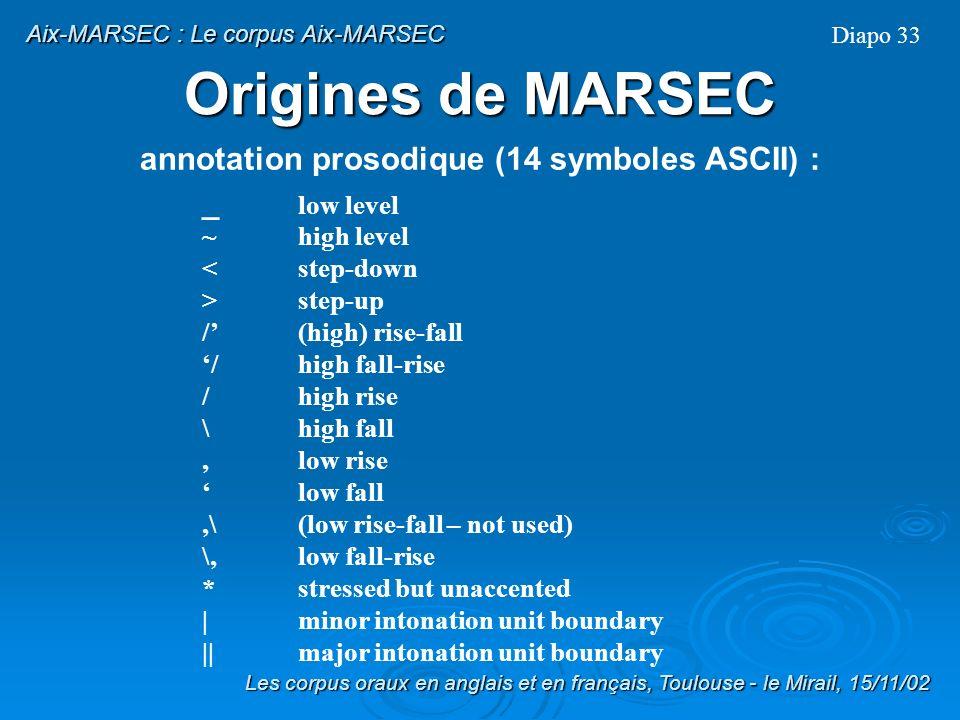 Origines de MARSEC Durée : 339 minutes et 18 secondes, corpus divisé en fichiers de 60s environ Alignement (temporel) au niveau du mot Annotation prosodique: tonetic stress marks (G.