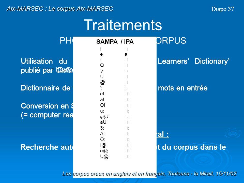 Prédiction de la durée des phonèmes Diapo 36 Les corpus oraux en anglais et en français, Toulouse - le Mirail, 15/11/02 Traitements Aix-MARSEC : Le co