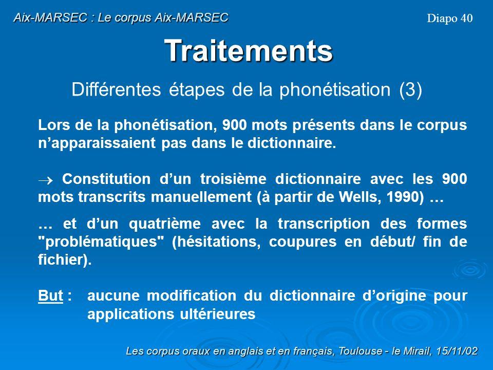 Traitement des formes réduites dictionnaire : formes pleines uniquement (ex: « and » est transcrit /{nd/) Création dun dictionnaire avec la liste des