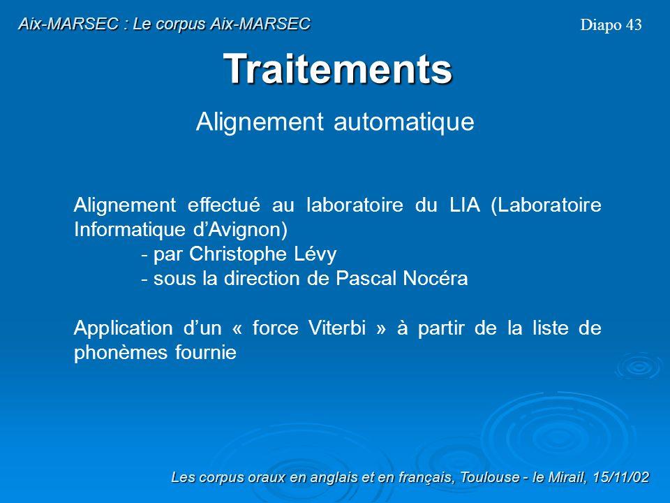 Traitement des élisions Diapo 42 Les corpus oraux en anglais et en français, Toulouse - le Mirail, 15/11/02 Aix-MARSEC : Le corpus Aix-MARSEC Traiteme