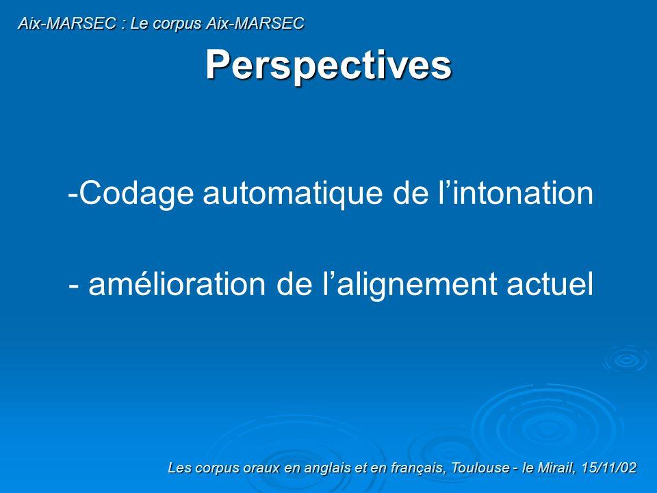 Traitement des consonnes syllabiques /m-n-l/ Syllabification selon le principe dattaque maximale Identification de ces consonnes syllabiques en fonction du contexte : C + /m - n - l/ (+ /z-d/) Resyllabification: /m-n-l/ deviennent noyaux syllabiques Diapo 50 Les corpus oraux en anglais et en français, Toulouse - le Mirail, 15/11/02 Aix-MARSEC : Le corpus Aix-MARSEC Traitements Découpage syllabique (5) Ex: expectation transcrit /IkspekteISn/ découpé en syllabes /Ik.spek.teISn/ /n/ est syllabique (contexte post-consonantique) resyllabification: /Ik.spek.teI.Sn/ ( /n/ = noyau syllabique)