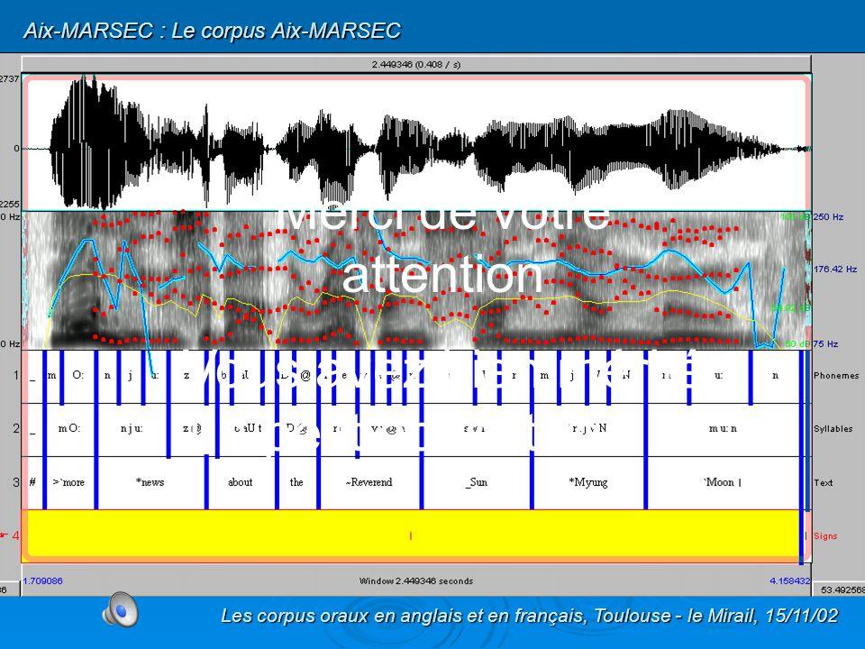 - représente une durée totale denviron 332 min soit environ 5 heures et demi de parole ; - est divisé en 408 fichiers ; - comporte 54083 mots ; - 195447 phonèmes (après élisions) ; - est aligné aux niveaux de lUnité Intonative, du mot et du phonème ; - sera disponible sous peu à prix coûtant … Les corpus oraux en anglais et en français, Toulouse - le Mirail, 15/11/02 Aix-MARSEC : Le corpus Aix-MARSEC Aix-MARSEC : Bilan Après homogénéisation, le corpus AIX-MARSEC