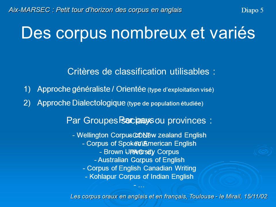 Des corpus nombreux et variés Corpus Généralistes : - Brown University Corpus - LOB Corpus - Brittish National Corpus - Kohlapur Corpus of Indian Engl